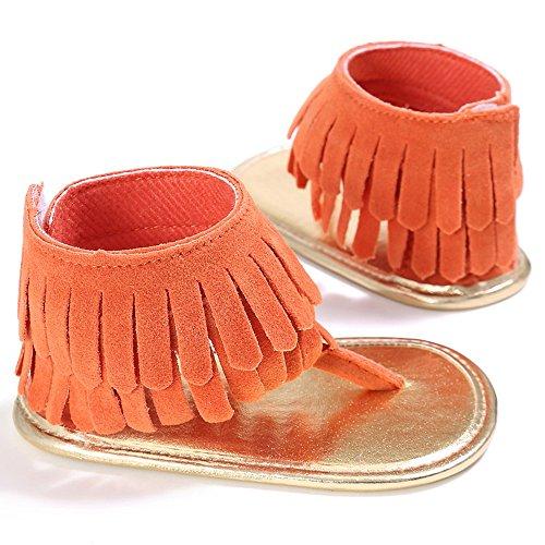 Union Tesco Baby Mädchen Quasten Sommer Schuhe Kleinkind Sandalen Soft Sole Prewalker (11-13 cm) Orange