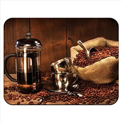 Coffee Beans In Sack With French Press Premium Quality Thick Rubber Mouse Mat Pad Soft Comfort Feel Finish by Snuggle Ltd