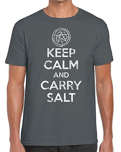 TeeDemon Keep Calm and Carry Salt - Supernatural - Funny - Mens Shirts - Men's Tshirt All Colours - Casual T-Shirt Gift