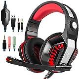GM-2 Gaming Headset für PS4 Xbox Ein PC Laptop Smartphone Tablet-Handy, AFUNTA Stereo-LED-Kopfhörer mit Mikrofon und Y-Splitter-Schwarz + Rot