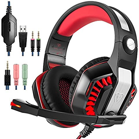 GM-2 Gaming Headset for PS4 Xbox One PC Laptop Smartphone Tablet Cell Phone, AFUNTA Stereo LED Headphone with Microphone and Y Splitter- Black+Rouge