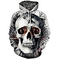 Herren Halloween Hoodie,TWBB 3D Schädel Drucken Pullover Mit Tasche Kapuzenpullover Sweatshirt Schlank Lange Ärmel Mantel Outwear Hemd Bluse