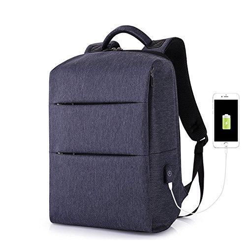 MJY Business-Rucksack Wiederaufladbare Computer Rucksack Student Wissenschaft und Technologie Tasche Leichte USB-Männer Tasche,Meerblau,A (Elemente Computer-rucksack)