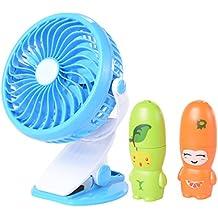 Xcellent Global Ventilatore portatile USB Passeggino Fan con clip sulla base, rotazione di 360 gradi, con batteria ricaricabile, per la casa e l'ufficio, con regalo extra (due simpatici ventilatori mini a forma di frutta) HG079