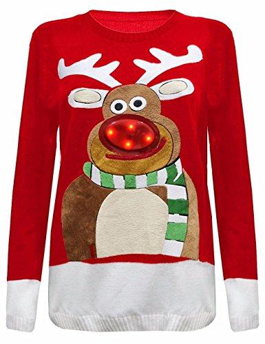*Janisramone Damen Herren Unisex Männer Weihnachtsbaum Aufhellen Rudolph Neuheit LED Pullover Pullover*