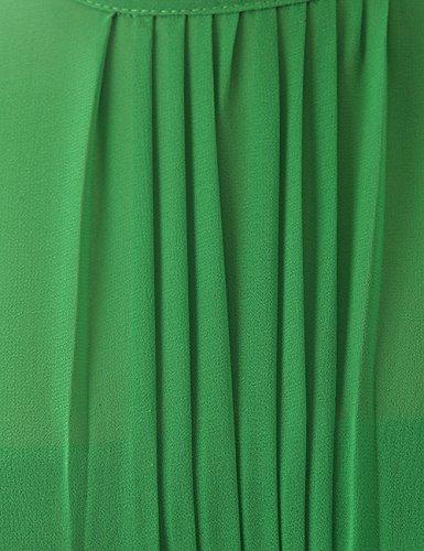 Dressystar Robe de demoiselle d'honneur/de soirée/de Cérémonie courte, Sans Manches, Plissée, au drapé, avec une ceinture, en Mousseline Champagne