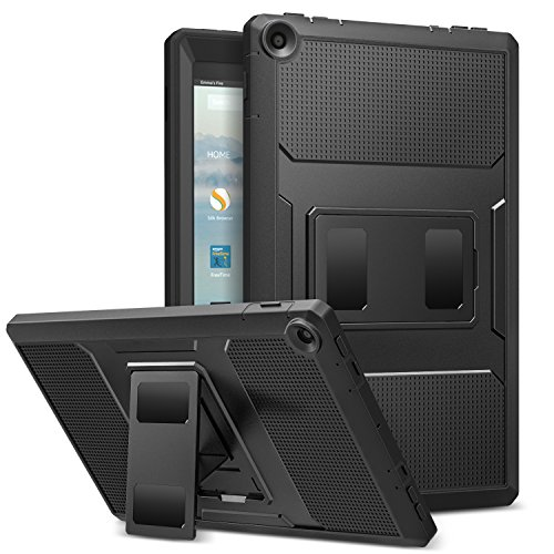 MoKo Hülle Fire HD 10 2017 Tablet - [Heavy Duty] Anti-Schock Dual Layer Case Schutzhülle mit Standfunktion und integriertem Bildschirmschütz für All-New Amazon Fire HD 10,1 Zoll, Schwarz (Kinder-kopfhörer Für Amazon Kindle Fire)