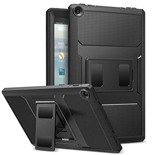 MoKo Hülle Fire HD 10 2017 Tablet - [Heavy Duty] Anti-Schock Dual Layer Case Schutzhülle mit Standfunktion & integriertem Displayschütz für All-New Amazon Fire HD 10,1 Zoll, Schwarz