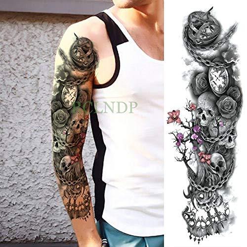 Handaxian 3pcsWaterproof Tattoo Aufkleber Maske Vulkan Blume voller Arm Body Art Tattoo Rücken Tattoo Männer und Frauen