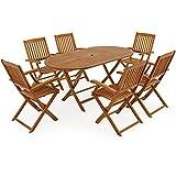 Deuba® Sitzgruppe Boston 6+1 | FSC®-zertifiziertes Akazienholz 7-TLG Tisch klappbar | Sitzgarnitur Holz Garten Möbel Set