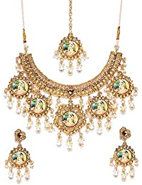 Zaveri Pearls Gold Tone Padmavati Inspired Pearl Drops Necklace Set For Women-ZPFK7255