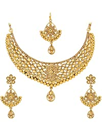 The Luxor Golden American Diamond Classical Bridal Necklace Jewellery Set For Women (NK-2076)