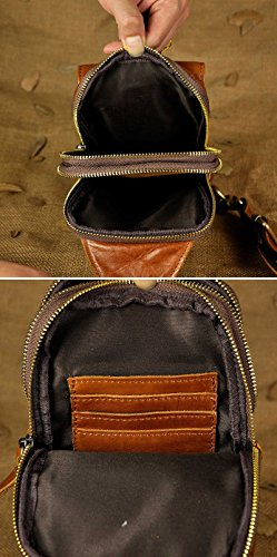 Le'aokuu Herren Echtleder Sportlich Retro Sling Schulter Cross-Body-Tasche Brust Beutel Tasche Umhängetasche B571-1 braun