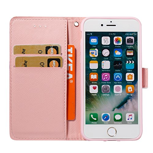 iPhone 8 Plus Hülle, STENES 3D Stilvoll Serie Kartenfach Standfunktion Magnet Ledertasche Wallet TPU Stoßfänger Schutzhülle für iPhone 7 Plus / iPhone 8 Plus - Marmor Streifen / Schwarz Marmor Streifen / Rosa