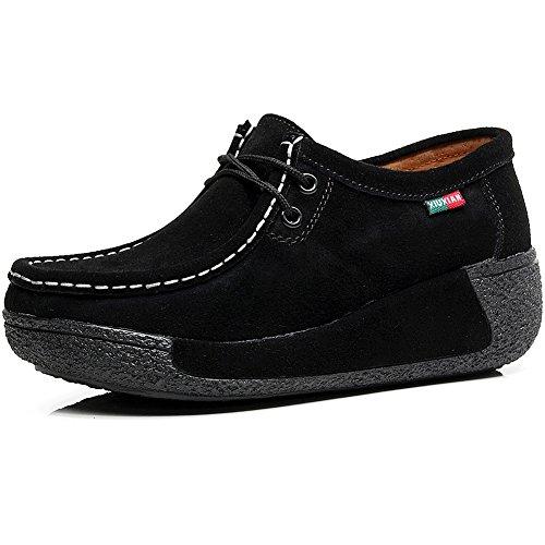 Shenn Donna Formale Piattaforma Nascosto Tacco Cuneo Scamosciato Sneaker Scarpe Nero
