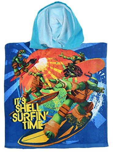 Cape de bain à capuche enfant garçon Tortues Ninja Bleu Taille unique (2-6ans)