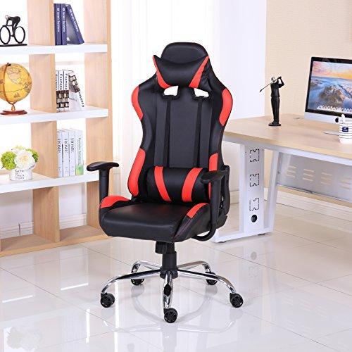 Sedia reclinabile da gaming, lussuosa, in pelle, stile racing, per ufficio e computer Red