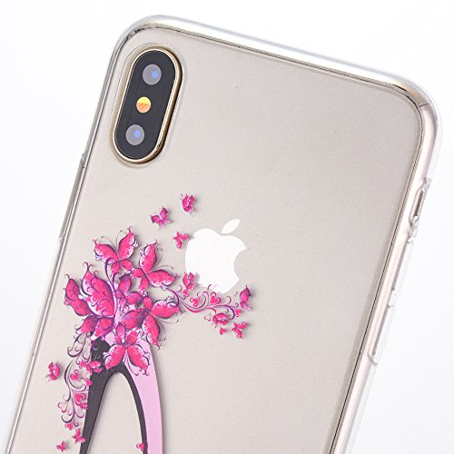 iPhone X Case, iPhone 10 Case, SICAS Amusing Whimsical Design Clear Bumper TPU Soft Case Rubber Silicone Cover for iPhone X - Pear Flower ( Pink ) HighHeel-Pink