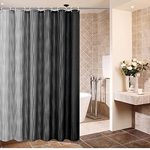 Comfysail 180x180cm Grey Stripes/Pattern Series Extra Large Waterproof Mouldproof Bathroom 100% Polyester Fabric Shower Curtain With 12 Hooks (Gray vertical