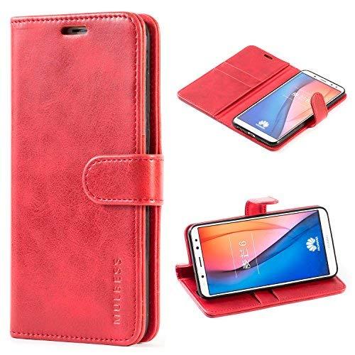 Mulbess Vintage Ledertasche im Ständer Book Case / Kartenfach für Huawei Mate 10 Lite (5,9 Zoll) Tasche Hülle Leder Etui,Wine Rot