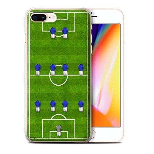 Stuff4 Hülle / Case für Apple iPhone 8 Plus / 4-1-2-1-2/Weiß Muster / Fußball Bildung Kollektion 4-4-2/Blau
