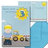 Kinderkarte Geburtstagskarte 3. Geburtstag Junge Kindergeburtstag Aufklappkarte Briefumschlag