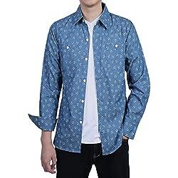 Allegra K Camisa Para Hombres Manga larga Diseño De Ancla De Dril Botón Arriba Delgado Ajuste - Azul/S (US 34),S (EU 44)