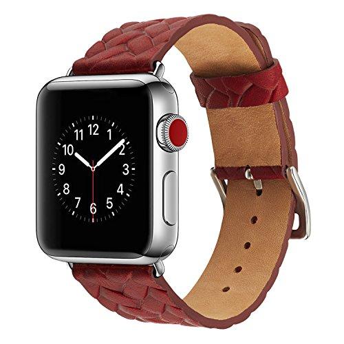 TRBOL Armband für Apple Watch 42mm 44mm,PU Leder Ersatzband mit Edelstahl Gürtelschnalle Leder Uhrenarmband für Apple Watch 42mm 44mm Series 1/2/3/4 (19)