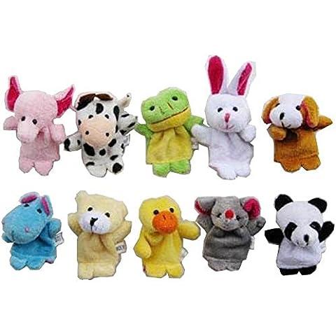 Demarkt Marioneta de dedos elefante,vaca, dinosaurio, conejo, perro, oso, patos, Panda