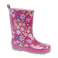 Infant Pink Multi Printed Floral Wellington Boots Girls (Infant 8 – Junior 2)