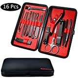 Fixget 16 Pcs Manicure Set, Nail Clippers Set Pedicure Kit Professionale in Acciaio Inox Forbici per Unghie di Viaggio e Toelettatura Kit Manicure Set