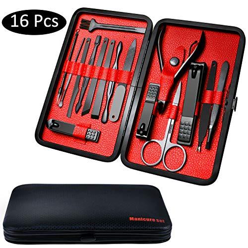 Fixget 16 Pcs Manicure Set Nail Clippers Set Pedicure Kit Professionale Acciaio Inox Forbici per Unghie di Viaggio e Toelettatura Kit Manicure Set