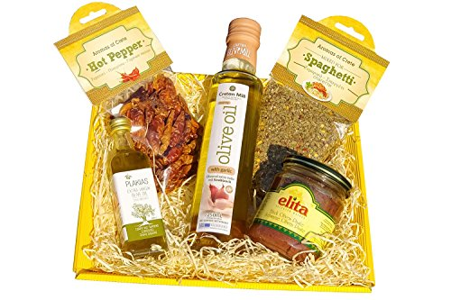 Kleiner Feinkost Geschenk Korb Set mit Olivenöl und Gewürzen - griechisches Feinkost Präsent - Feinschmecker Olivenpaste Knoblauch Öl aus Griechenland im Körbchen