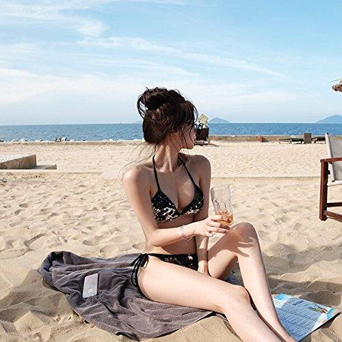 Bling-bling-felgen (Xing Han Bikinis Für Damen Bling Koreanischen Rosa Pailletten Glitzernde Hot Bikini Bikini, M, Schwarz)