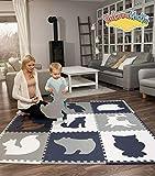 Hakuna Matte große Puzzlematte für Babys 1,8x1,8m - 9 XXL Platten 60x60cm mit Tieren - 20% dickere Spielmatte in Einer umweltfreundlichen Verpackung - schadstofffreie, geruchlose Krabbelmatte