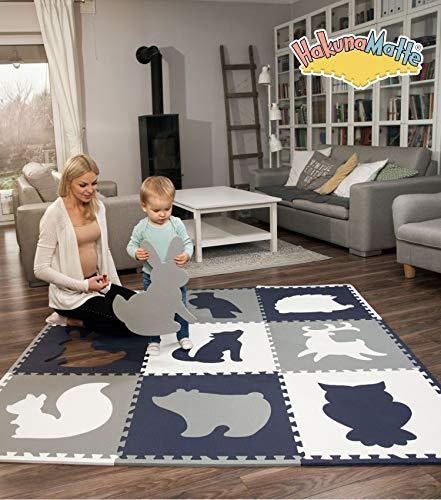 Große Puzzlemate für Babys 1,8x1,8m | 9 XXL Schaumstoffplatten 60x60cm mit Tieren | +20{2ecd89d76ab71b38574aafcc4897400fd8f099771a0250083649030519e061da} dickere, wärmere Spielmatten in einer Aufbewahrungstasche | Schadstofffrei, geruchlos, TÜV Formamid geprüft