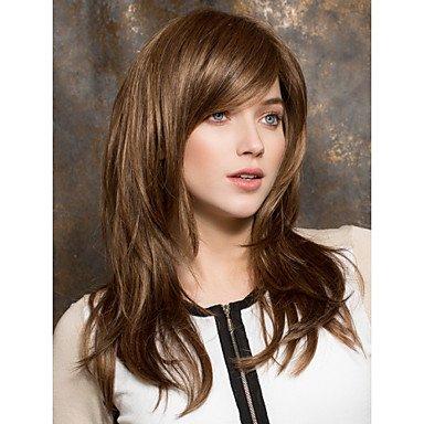 braune syntheic Perücken-Erweiterungen Medium glattes Haar Perücke , brown (Medium Braune Perücke)