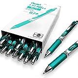 Pentel EnerGel XM BL77–Lot de 12 stylos à encre gel liquide rétractables–0,7mm–54% recyclé turquoise