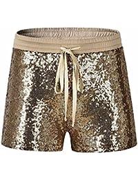 Tomatoa Damen Kurz Mode Frauen Pailletten Shorts Mid Taille Sexy Shorts  Kausale Hot Pants Sommer Kurze Hosen Damen Lässige Design Hohe… 0bb352dc63