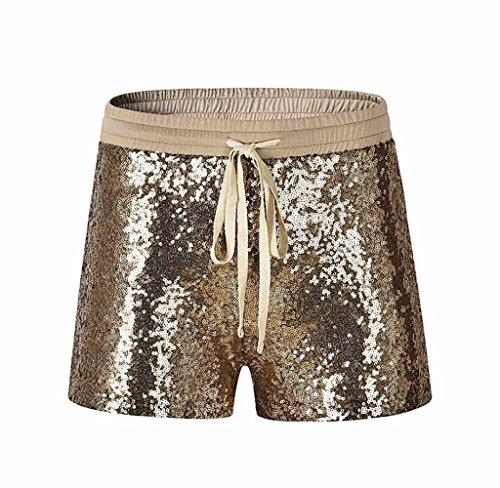 Tomatoa Damen Kurz Mode Frauen Pailletten Shorts Mid Taille Sexy Shorts Kausale Hot Pants Sommer Kurze Hosen Damen Lässige Design Hohe Taille Lose (Golden, XL) (Nahtlose Kurzen Hot)