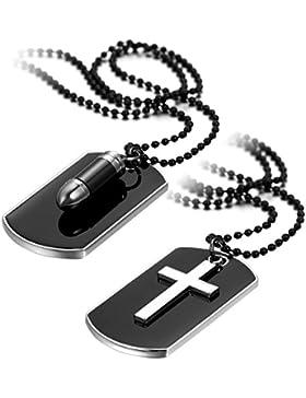 Oidea Herren Halskette mit Anhänger (2PCS), Legierung Kugel Kreuz Dog Tag Militärischen Erkennungsmarken Armee...