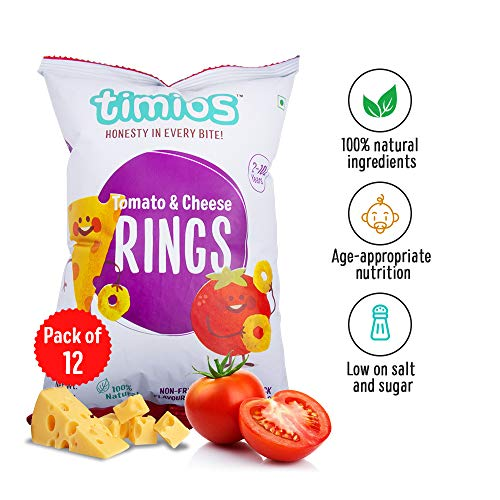 Timios Tomato and Cheese Rings | Healthy Snack for Kids | Natural Energy Food Product for Toddlers | Nutritious and Ready to Eat for Children 2+ Years Pack of 12