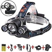 Boruit Linterna Frontal Lámpara de Cabeza 5000 Lúmenes 3 x XM-T6 LED Impermeable y Ajustable Ultraligero para Montar Bici, Pescar, etc, Color Negro