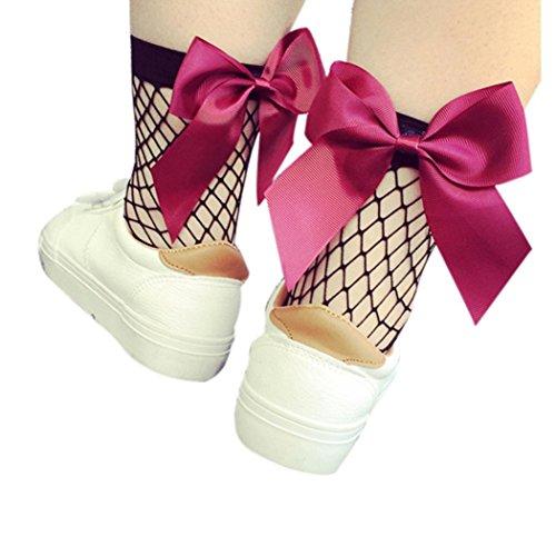 (HARRYSTORE Frauen Rüsche Fishnet Knöchel Hohe Socken Mesh Spitze Bow-Knoten Fisch Netz Kurze Socken (Hot Pink))