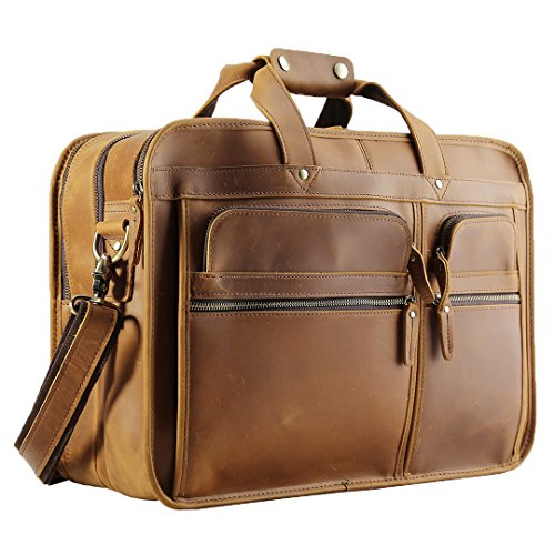 Polare Men s 17   Full Grain Leather Messenger Bag for Laptop Briefcase Tote a544405205f39