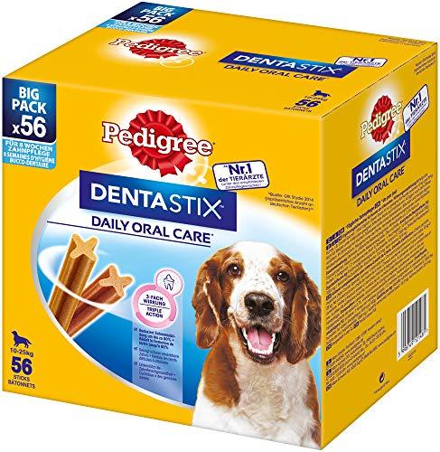 Pedigree DentaStix Daily Oral Care Zahnpflegesnack für mittelgroße Hunde - Hundeleckerli mit Huhn- und Rindgeschmack für jeden Tag - 1 x 56 Stück