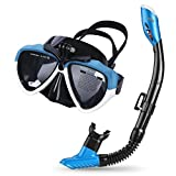 Cadrim Snorkel Set with Tempered Glass & Full-dry Top Snorkel,Anti-fog Diving Mask Panoramic