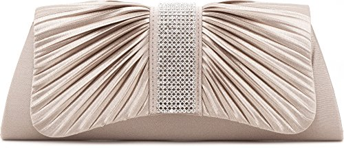 VINCENT PEREZ Women's ruffled satin shoulder bag or clutch with rhinestones and 120cm removeable bag strap made of chain. Colour: beige / light taupe