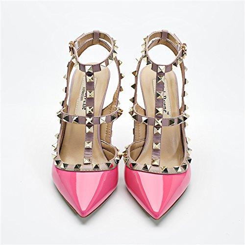 un rivetto tacchi bene scarpe di cuoio a baotou documentario band orange femmina estate sandali 5,Rosa