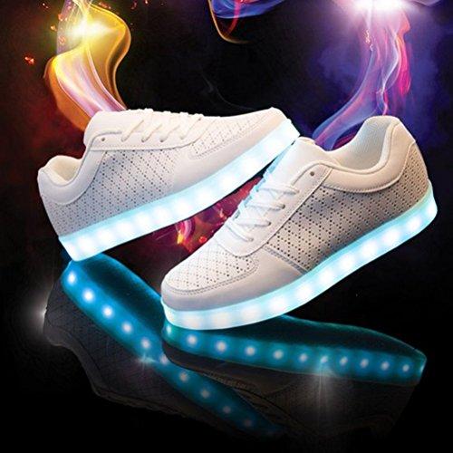 [Présents:petite serviette]JUNGLEST® 7 couleurs de recharge USB LED Light Up Chaussures Couples Luminous flash Sneakers Glow course Casual de Blanc